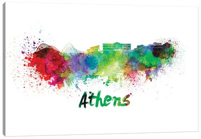 Athens Skyline In Watercolor Canvas Art Print