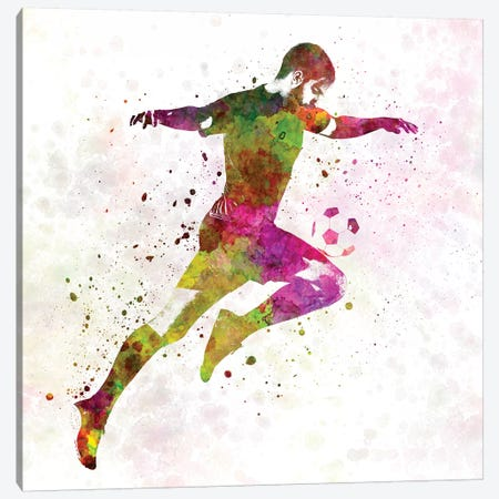 Man Soccer Football Player XII Canvas Print #PUR481} by Paul Rommer Canvas Artwork