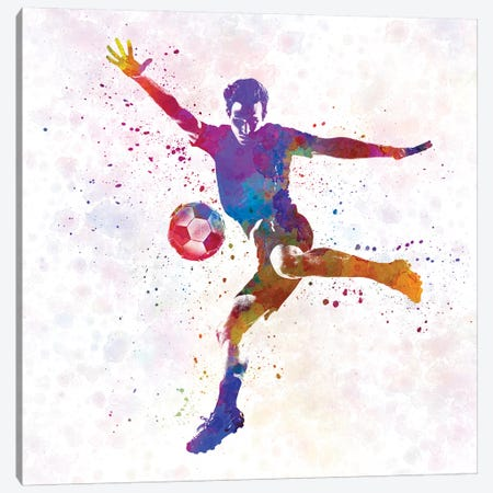 Man Soccer Football Player XIV Canvas Print #PUR483} by Paul Rommer Canvas Artwork