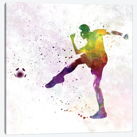 Man Soccer Football Player XV Canvas Print #PUR484} by Paul Rommer Art Print
