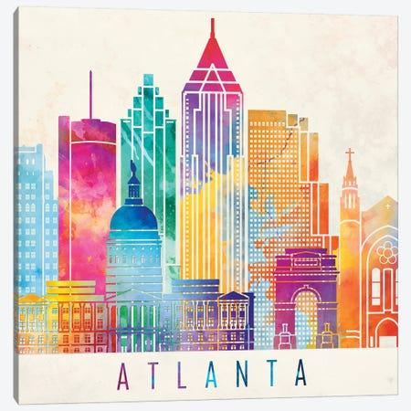 Atlanta Landmarks Watercolor Poster Canvas Print #PUR48} by Paul Rommer Canvas Wall Art