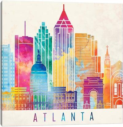 Atlanta Landmarks Watercolor Poster Canvas Art Print