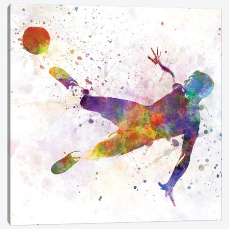 Man Soccer Football Player Flying Kicking V Canvas Print #PUR490} by Paul Rommer Canvas Print