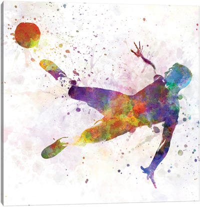 Man Soccer Football Player Flying Kicking V Canvas Art Print