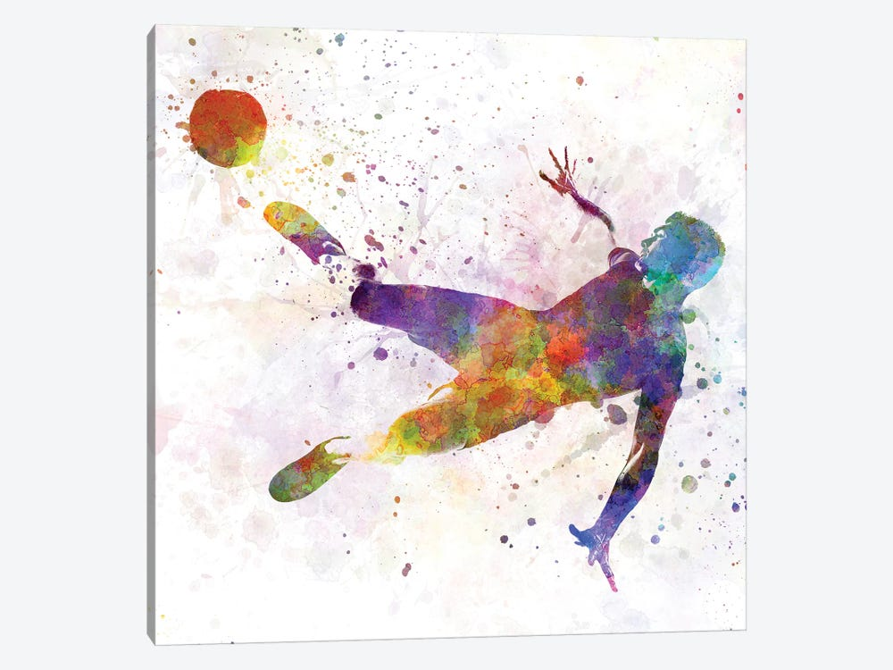 Man Soccer Football Player Flying Kicking V by Paul Rommer 1-piece Canvas Art Print