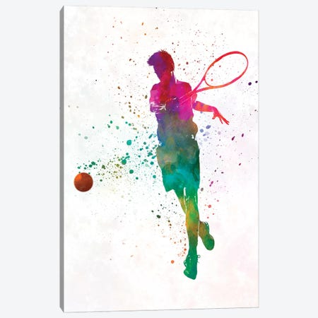 Man Tennis Player In Watercolor I 3-Piece Canvas #PUR492} by Paul Rommer Art Print