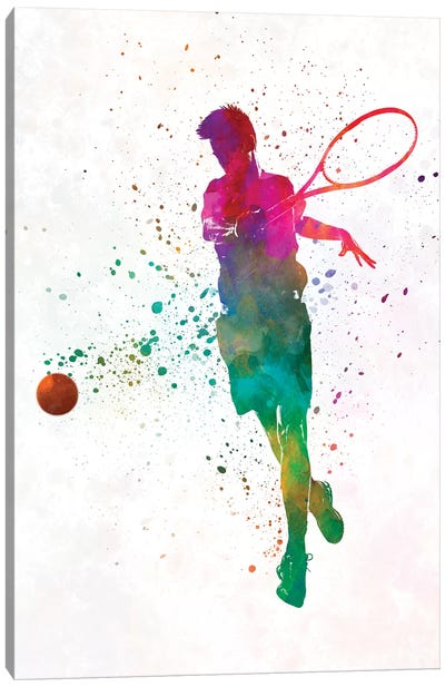 Man Tennis Player In Watercolor I Canvas Art Print