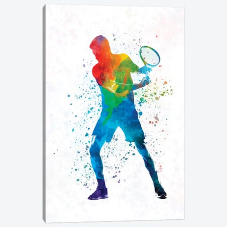 Man Tennis Player In Watercolor II Canvas Print #PUR493} by Paul Rommer Canvas Art Print