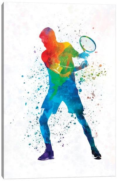 Man Tennis Player In Watercolor II Canvas Art Print