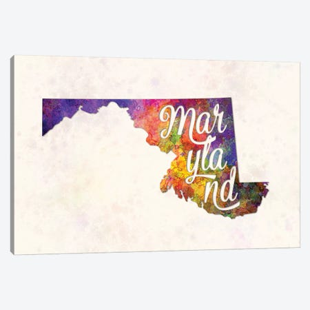 Maryland US State In Watercolor Text Cut Out Canvas Print #PUR497} by Paul Rommer Canvas Artwork