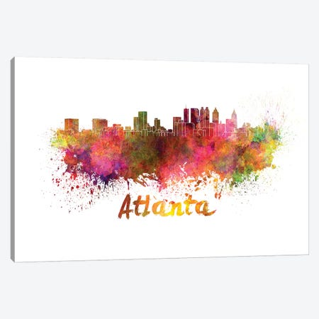 Atlanta Skyline In Watercolor Canvas Print #PUR49} by Paul Rommer Canvas Wall Art