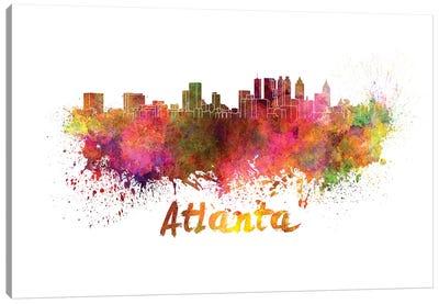 Atlanta Skyline In Watercolor Canvas Art Print