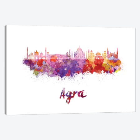 Agra Skyline In Watercolor Canvas Print #PUR4} by Paul Rommer Canvas Print