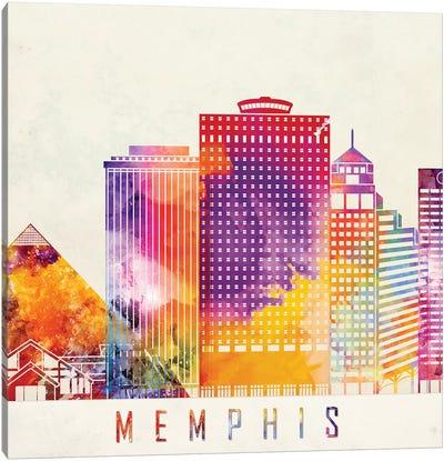Memphis Landmarks Watercolor Poster Canvas Art Print