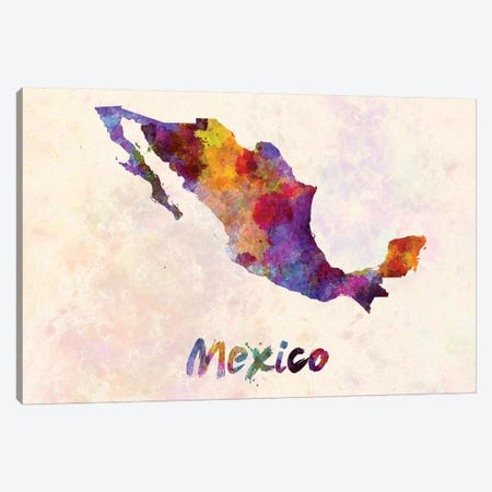 Mexico In Watercolor 3-Piece Canvas #PUR503} by Paul Rommer Art Print
