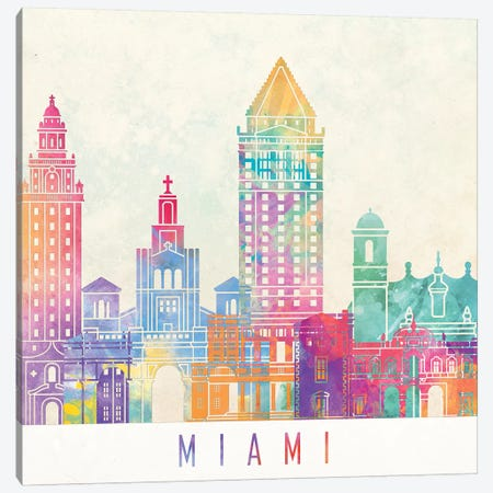 Miami Landmarks Watercolor Poster 3-Piece Canvas #PUR504} by Paul Rommer Canvas Wall Art