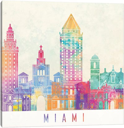 Miami Landmarks Watercolor Poster Canvas Art Print