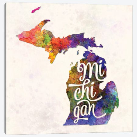 Michigan US State In Watercolor Text Cut Out Canvas Print #PUR506} by Paul Rommer Canvas Artwork