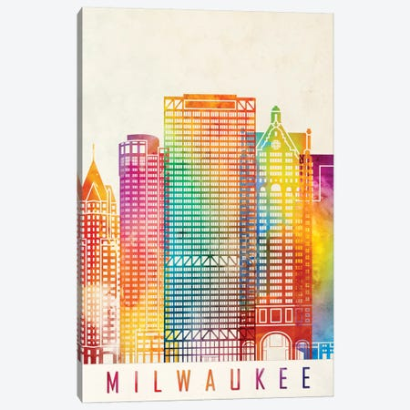 Milwaukee Landmarks Watercolor Poster Canvas Print #PUR507} by Paul Rommer Canvas Art