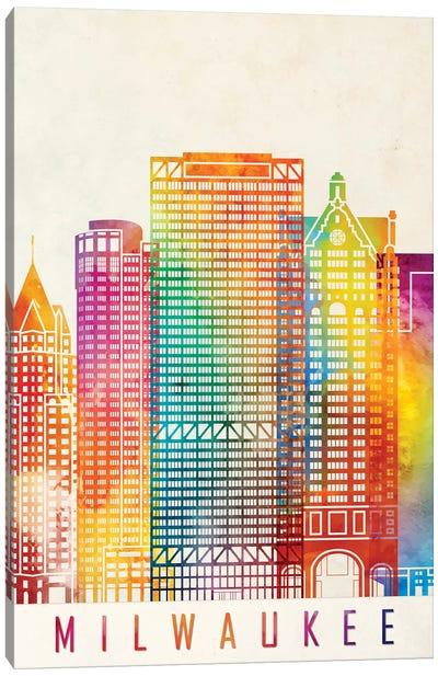 Milwaukee Landmarks Watercolor Poster Canvas Art Print