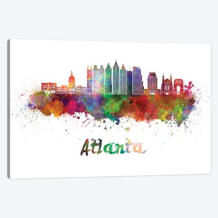 Atlanta Skyline In Watercolor II Canvas Print #PUR50} by Paul Rommer Canvas Art Print