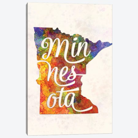 Minnesota US State In Watercolor Text Cut Out Canvas Print #PUR512} by Paul Rommer Canvas Art