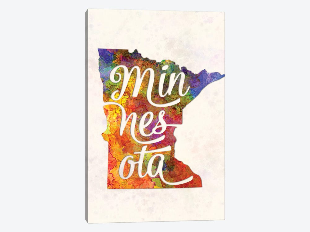 Minnesota US State In Watercolor Text Cut Out by Paul Rommer 1-piece Canvas Wall Art