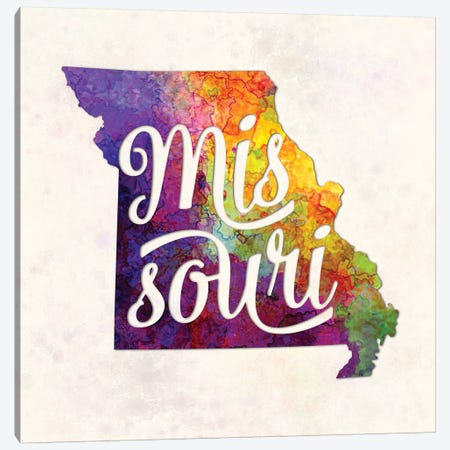 Missouri US State In Watercolor Text Cut Out Canvas Print #PUR516} by Paul Rommer Canvas Print