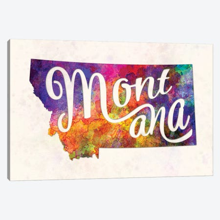 Montana US State In Watercolor Text Cut Out Canvas Print #PUR518} by Paul Rommer Canvas Artwork