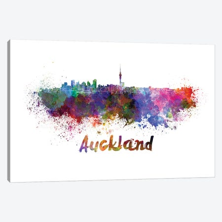 Auckland Skyline In Watercolor Canvas Print #PUR51} by Paul Rommer Canvas Print