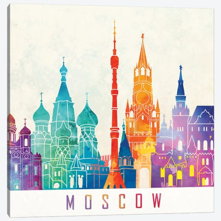 Moscow Landmarks Watercolor Poster Canvas Print #PUR520} by Paul Rommer Art Print