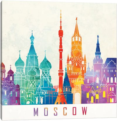 Moscow Landmarks Watercolor Poster Canvas Art Print
