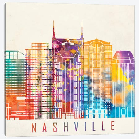 Nashville Landmarks Watercolor Poster Canvas Print #PUR523} by Paul Rommer Canvas Art Print