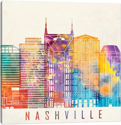 Nashville Landmarks Watercolor Poster Canvas Art Print
