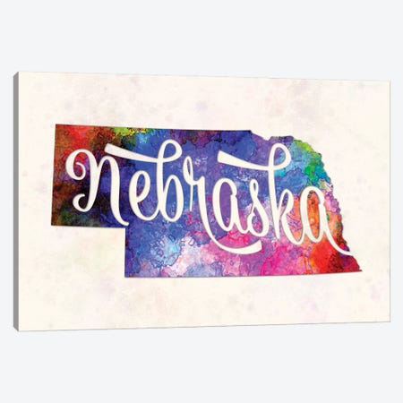 Nebraska US State In Watercolor Text Cut Out Canvas Print #PUR525} by Paul Rommer Canvas Wall Art