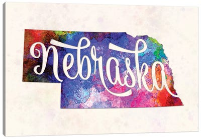 Nebraska US State In Watercolor Text Cut Out Canvas Art Print