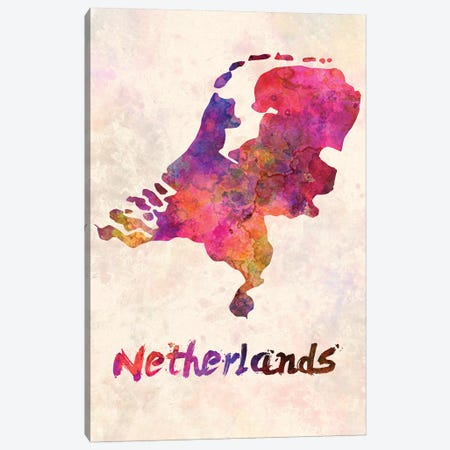 Netherlands In Watercolor Canvas Print #PUR526} by Paul Rommer Canvas Artwork