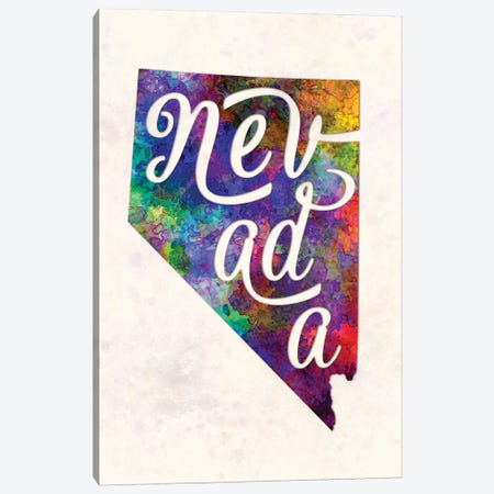 Nevada US State In Watercolor Text Cut Out Canvas Print #PUR528} by Paul Rommer Art Print