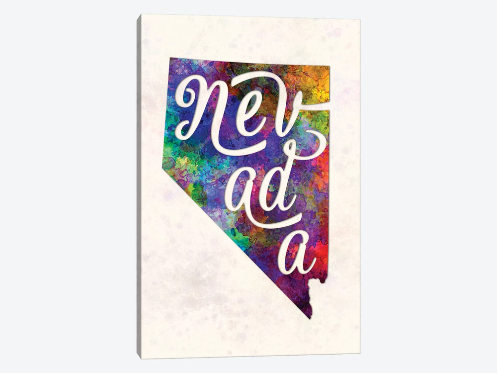 Nevada US State In Watercolor Text Cut Out by Paul Rommer 1-piece Canvas Art Print