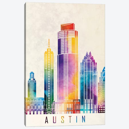 Austin Landmarks Watercolor Poster Canvas Print #PUR52} by Paul Rommer Art Print