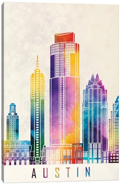 Austin Landmarks Watercolor Poster Canvas Art Print