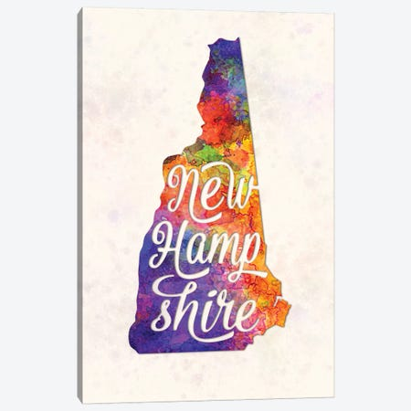 New Hampshire US State In Watercolor Text Cut Out Canvas Print #PUR530} by Paul Rommer Canvas Artwork
