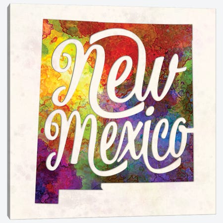 New Mexico US State In Watercolor Text Cut Out Canvas Print #PUR534} by Paul Rommer Canvas Art Print