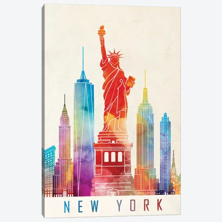 New York Landmarks Watercolor Poster Canvas Print #PUR536} by Paul Rommer Canvas Art Print