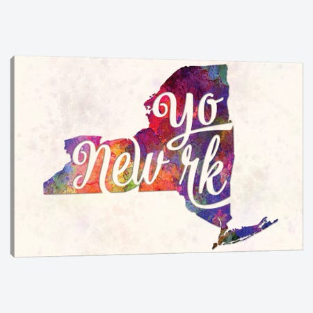 New York US State In Watercolor Text Cut Out 3-Piece Canvas #PUR537} by Paul Rommer Canvas Art Print