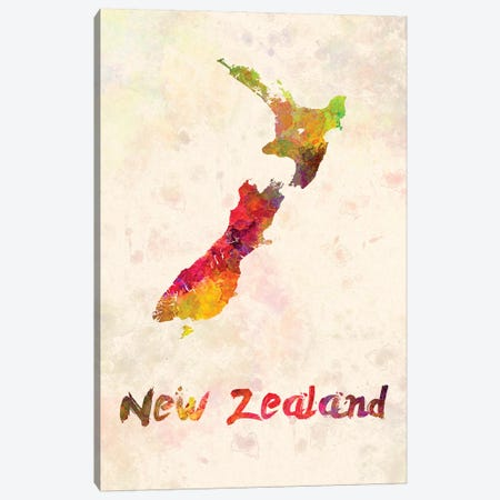 New Zealand In Watercolor Canvas Print #PUR538} by Paul Rommer Canvas Wall Art