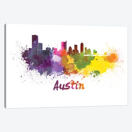 Austin Skyline In Watercolor Canvas Print #PUR53} by Paul Rommer Art Print