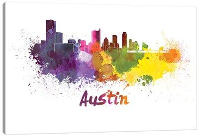 Austin Skyline In Watercolor Canvas Art Print