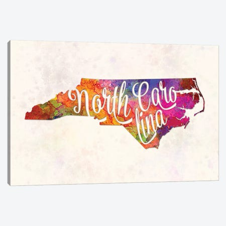 North Carolina US State In Watercolor Text Cut Out Canvas Print #PUR543} by Paul Rommer Canvas Art Print