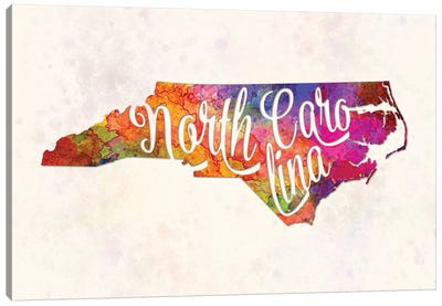 North Carolina US State In Watercolor Text Cut Out Canvas Art Print